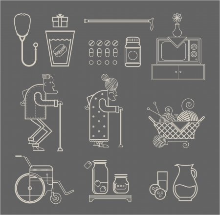 set of stylized granny icons Vector