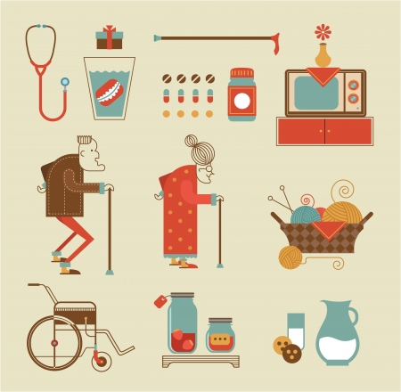 set of stylized granny icons