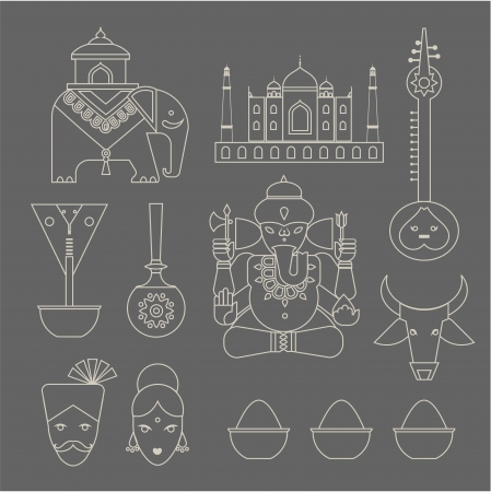 set of indian travel icons