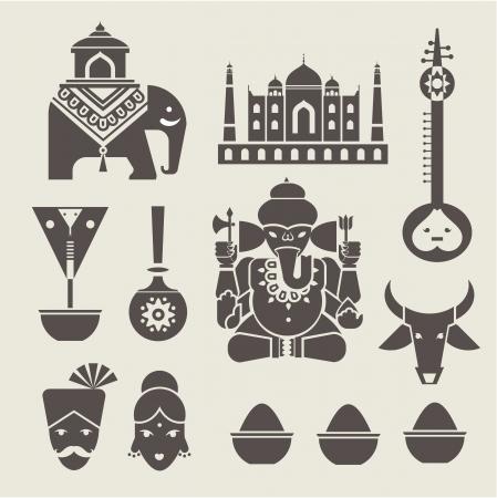 인도 여행 아이콘 세트 일러스트