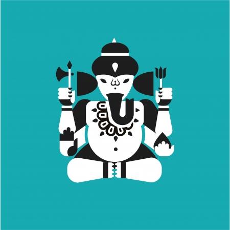 indian elephant: Ilustraci�n del vector del dios elefante hind� Ganesha