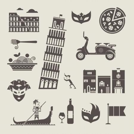 Conjunto de vectores de iconos estilizados italia Foto de archivo - 21661023