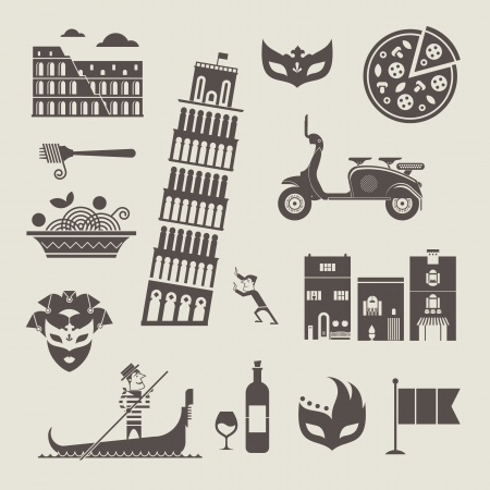 gondolier: set of stylized italy icons