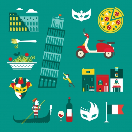 set of stylized italy icons