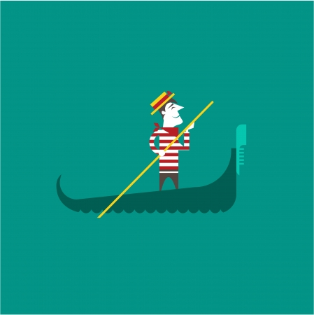 gondolier: Italian gondolier Illustration
