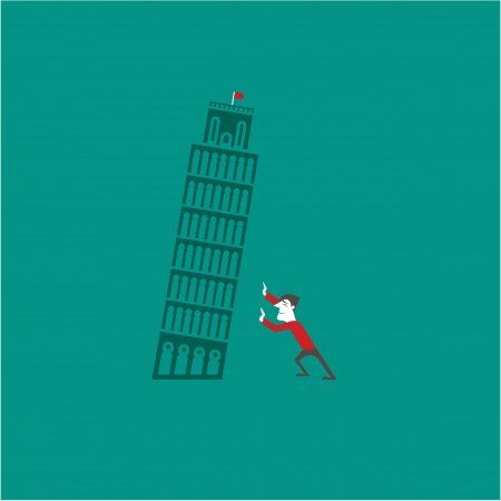 leaning tower of pisa: Pisa tower with a tourist illustration