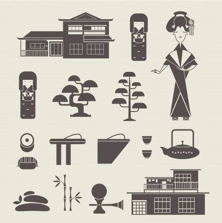 set of various stylized japanese icons Vector