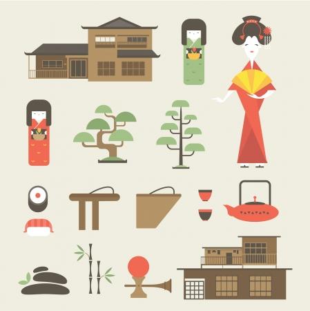 다양한 스타일 일본어 아이콘을 설정 일러스트