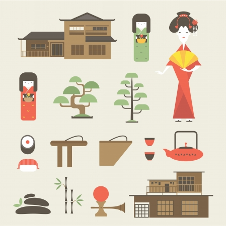 set of various stylized japanese icons 向量圖像