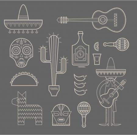 mexican sombrero: illustrazione delle varie icone stilizzate per il Messico