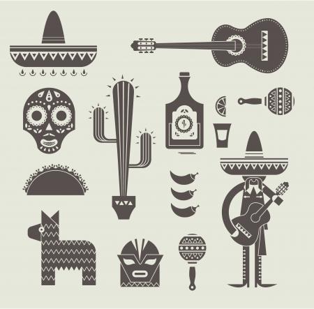 멕시코에 대한 다양한 스타일 아이콘의 그림