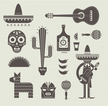 illustration of various stylized icons for Mexico Illustration