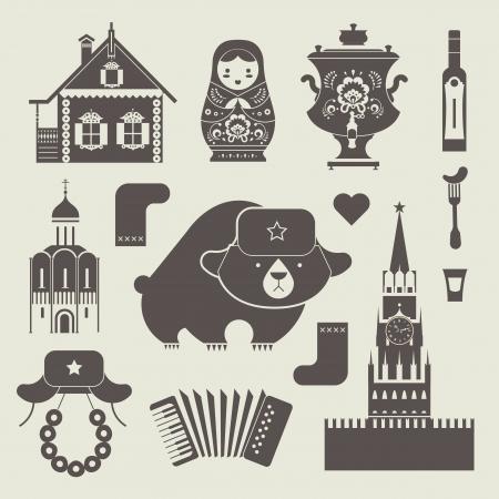 다양한 스타일 러시아어 아이콘을 설정