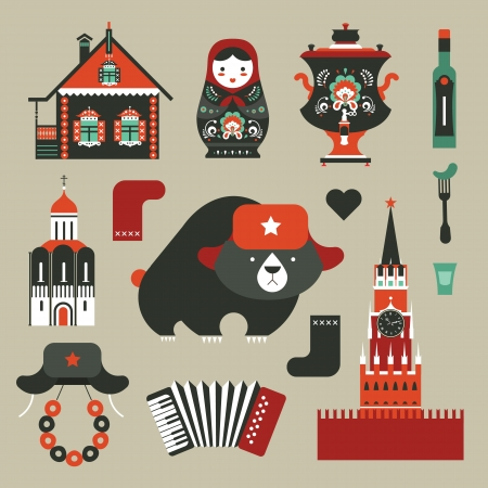 set of various stylized Russian icons