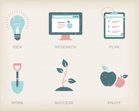 business plan: icons for a business success process