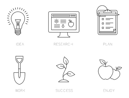 icons for a business success process Stock Vector - 21661052