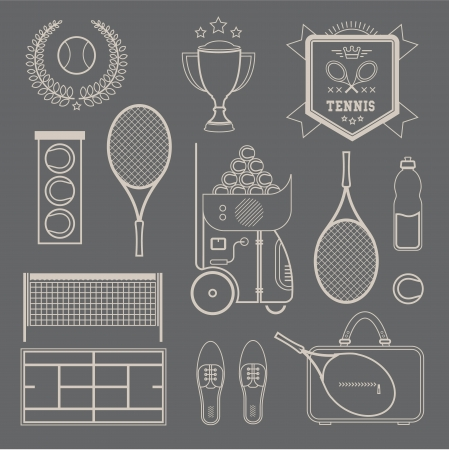 illustration of various stylized tennis icons Vector