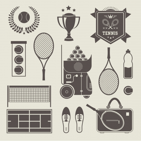 tennis shoes: Vector illustration of various stylized tennis icons Illustration