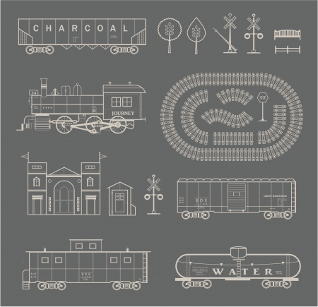 Vector set of various elements of railroad  trains  Vector