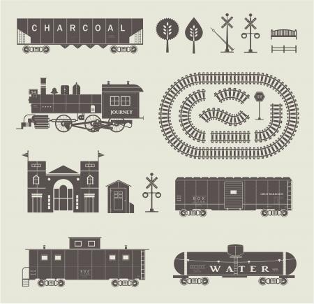 철도 열차의 다양한 요소의 집합 일러스트