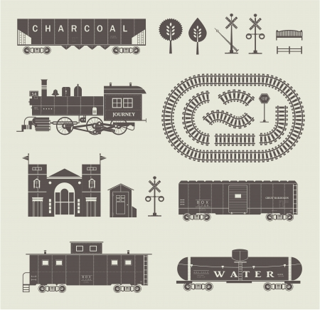 goods station: Vector set of various elements of railroad  trains