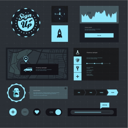 Vector set of various elements used for User Interface projects Vector