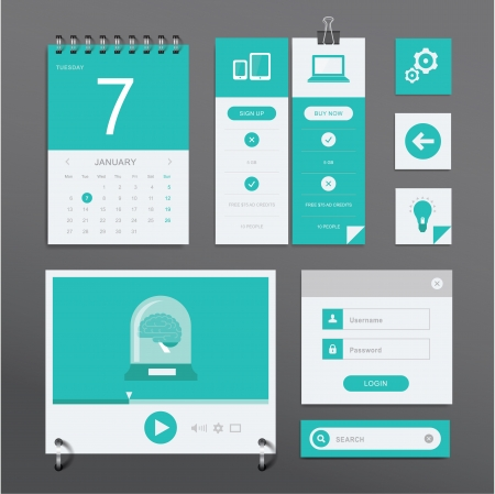 spiral notebook: set of various elements used for User Interface projects Illustration
