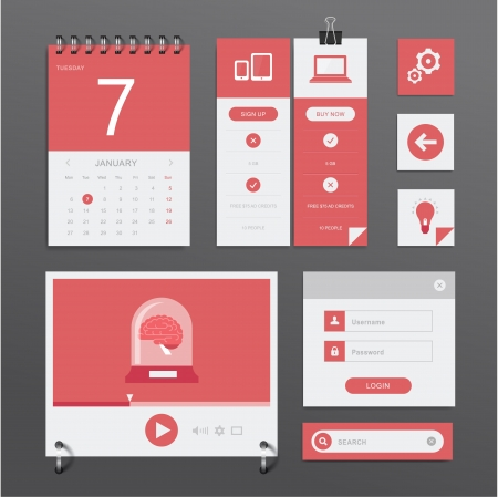 set of various elements used for User Interface projects Vector