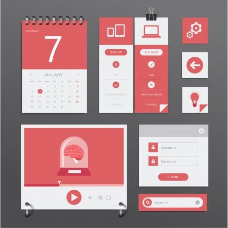 player controls: Vector conjunto de diversos elementos utilizados para proyectos de la interfaz de usuario