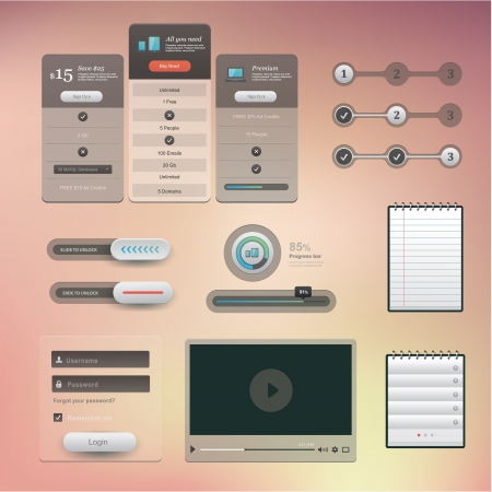 player controls: set of various elements used for User Interface projects Illustration