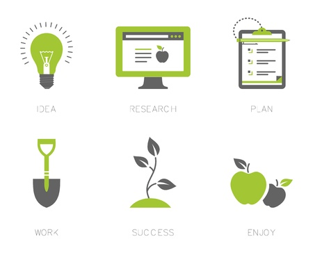 icons for a business success process Stock Vector - 21661074