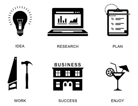 icons for a business success process Vector