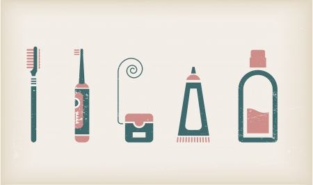 floss: set of icons for mouth care Illustration
