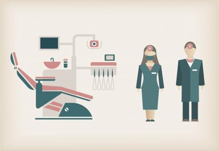 치과 의사의 아이콘과 그들의 장비 세트