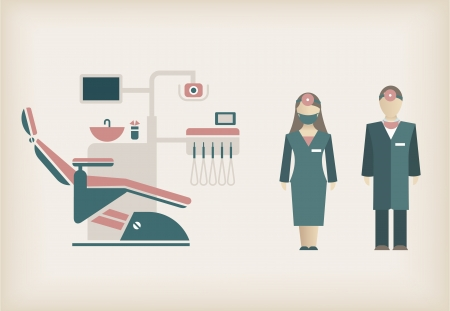 office product: set of dentist icons of doctors and their equipment Illustration