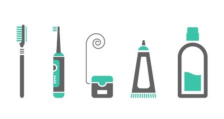 enjuague bucal: conjunto de iconos para el cuidado de la boca