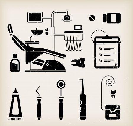 dental chair: set of dentist icons and teeth care