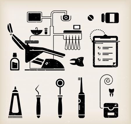sillon dental: Vector conjunto de iconos de dentista y el cuidado dientes