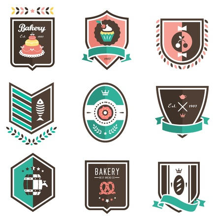 donut shop: set of nine colorful food emblems