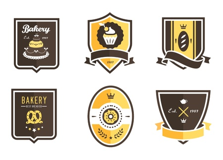 donut shop: set of 6 bakery food emblems Illustration