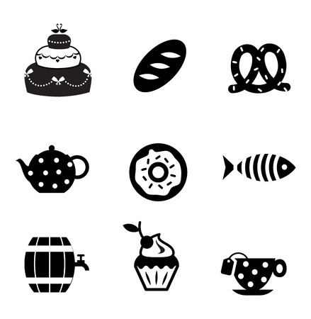 donut shop: food icons simple and cute design