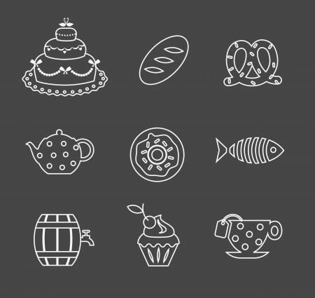 food icons simple and cute design Vector