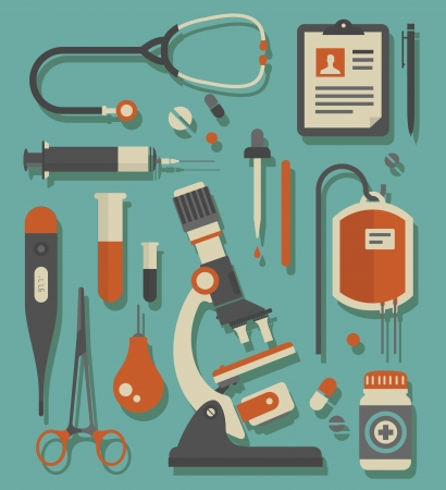 botiquin de primeros auxilios: Vector conjunto de varios iconos de médicos