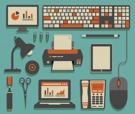 laptop home: Office icons Illustration