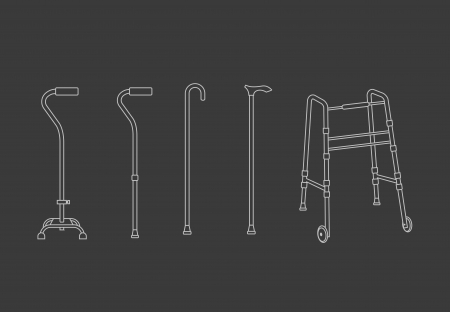 walking stick:  Set of outlined walking sticks for seniors