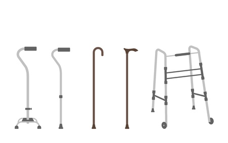 Set of outlined walking sticks for seniors