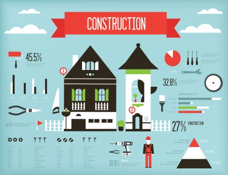 set of construction infograpic containing various icons of tools and houses Vector