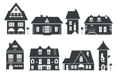 house icon: illustration of europe and american houses
