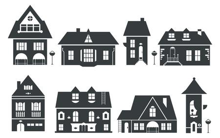 Illustration vectorielle de maisons Europe et Amérique Banque d'images - 21661120