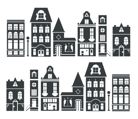 villustration of europe and american houses